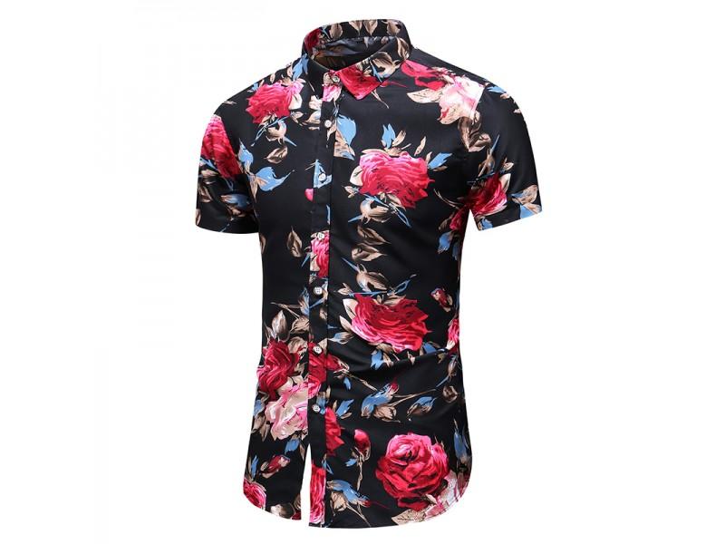 Camisa Floral Masculina Preto Vermelho Chicbest Com