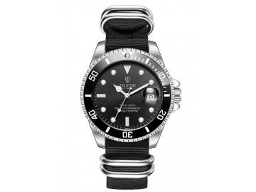 Relógio Tevise T801NL Masculino Automático Pulseira de Nylon - Preto e Branco