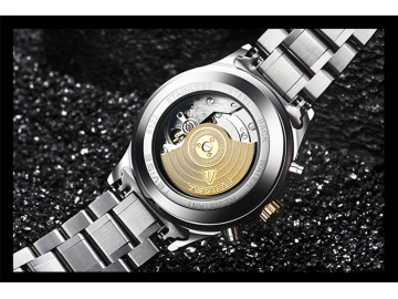 Relógio Tevise T8122B Masculino Automático Pulseira de Aço - Preto e Dourado