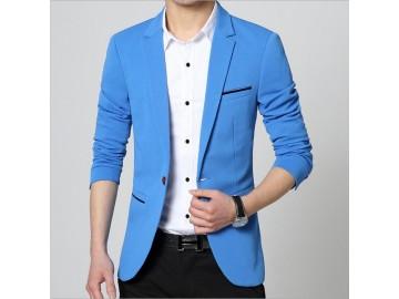 Blazer Masculino Um Botão - Azul Claro