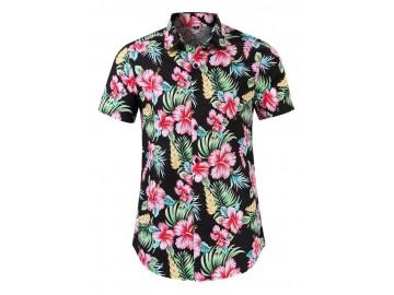 Camisa Floral Masculina - Preto/Vermelho