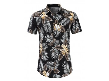 Camisa Floral Masculina - Preto/Marrom