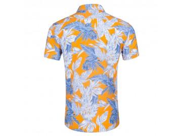 Camisa Floral Masculina - Branco/Azul