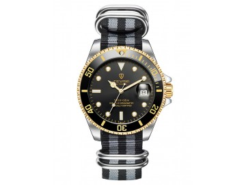 Relógio Tevise T801NL Masculino Automático Pulseira de Nylon - Preto e Dourado