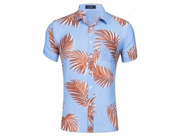 Camisa Floral Masculina - Azul Claro