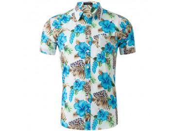 Camisa Estampada Masculina - Floral Azul