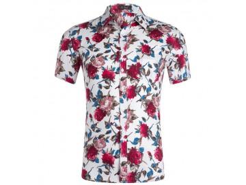 Camisa Estampada Masculina - Floral Vermelho