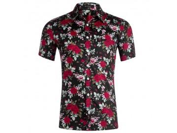 Camisa Estampada Masculina - Floral Preto/Vermelho