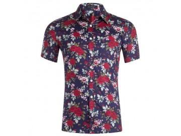 Camisa Estampada Masculina - Floral Azul/Vermelho