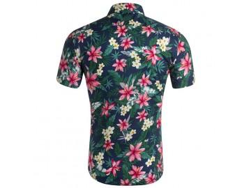 Camisa Estampada Masculina - Floral Azul/Verde/Vermelho