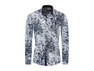 Camisa Floral Masculina - Azul Royal