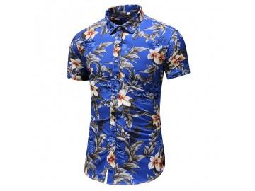 Camisa Floral Masculina - Azul Escuro