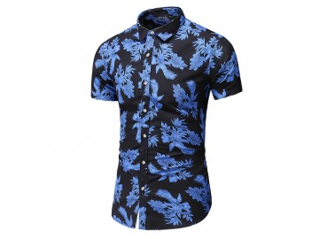 Camisa Floral Masculina - Preto/Azul