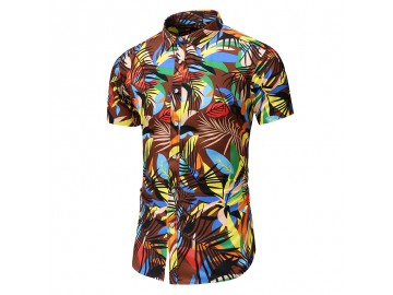 Camisa Floral Masculina - Café