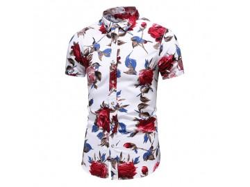 Camisa Floral Masculina - Branco/Vermelho