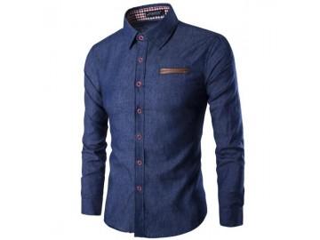 Kit 2 Camisas Jeans Masculinas Slim Fit Manga Longa - Azul Escuro e Azul Claro