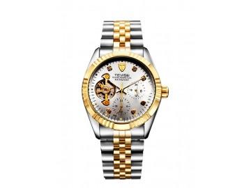 Relógio Tevise 629 Masculino Automático Pulseira de Aço - Branco e Dourado