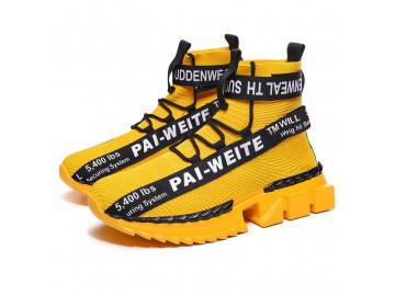 Tênis Masculino Design Cano Alto Extreme Anti-impacto - Amarelo
