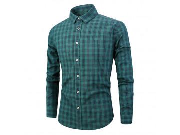 Camisa Masculina Listras em Xadrez Manga Longa - Verde