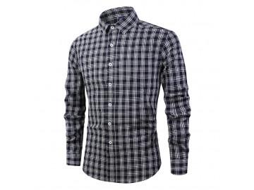 Camisa Masculina Listras em Xadrez Manga Longa - Preto