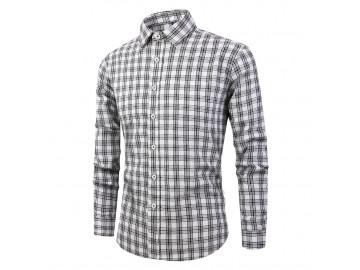 Camisa Masculina Listras em Xadrez Manga Longa - Branca/Preto