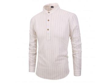 Camisa Masculina Listras Horizontais Gola Mandarim - Bege