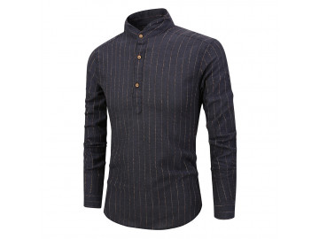 Camisa Masculina Listras Horizontais Gola Mandarim - Preto