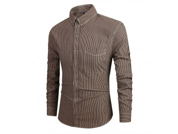 Camisa Masculina Slim Listrada com Bolso Frontal Manga Longa - Marrom