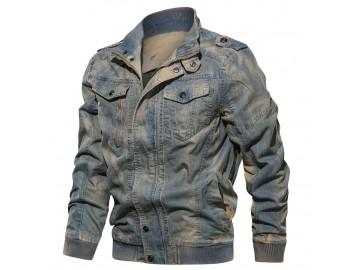 Jaqueta Masculina Jeans Força Aérea Cargo - Azul
