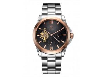 Relógio Tevise 8502 Masculino Automático Pulseira de Aço - Preto e Dourado