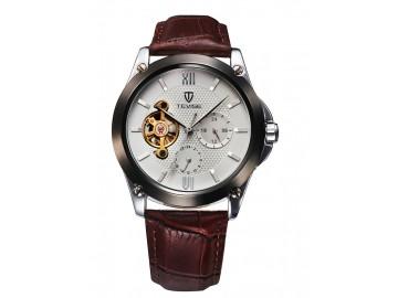 Relógio Tevise 8502 Masculino Automático Pulseira de Couro - Branco