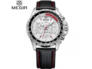 Relógio Masculino Megir 1010 Military Pulseira de Couro e Movt Quartzo - Branco