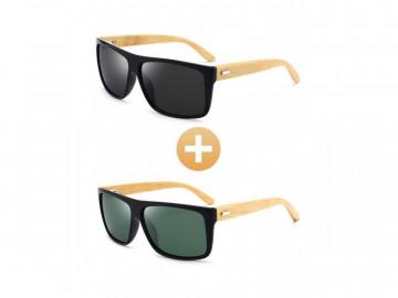 Kit com 2 Óculos Polarizado com Hastes em Bambu - Preto e Verde