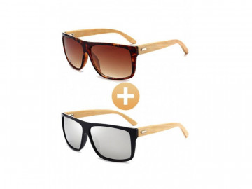 Kit com 2 Óculos Polarizado com Hastes em Bambu - Marrom e Prata