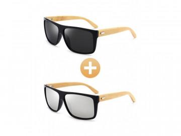 Kit com 2 Óculos Polarizado com Hastes em Bambu - Preto e Prata
