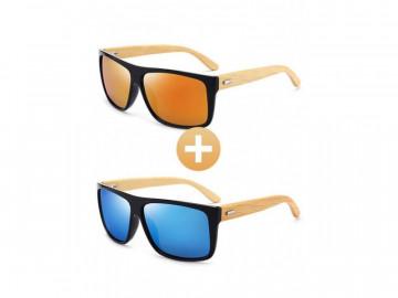 Kit com 2 Óculos Polarizado com Hastes em Bambu - Laranja e Azul