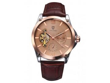 Relógio Tevise 8502 Masculino Automático Pulseira de Couro - Dourado