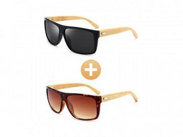 Kit com 2 Óculos Polarizado com Hastes em Bambu - Preto e Marrom