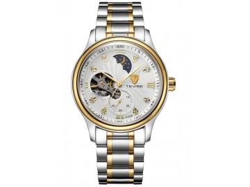 Relógio Tevise 8122A Masculino Automático Pulseira de Aço - Branco e Dourado