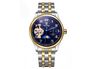 Relógio Tevise 8466 Masculino Automático Pulseira de Aço - Preto e Dourado