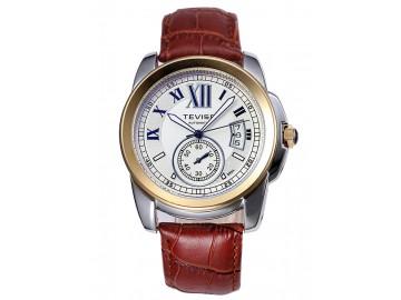 Relógio Tevise 999 Masculino Automático Pulseira de Couro - Dourado