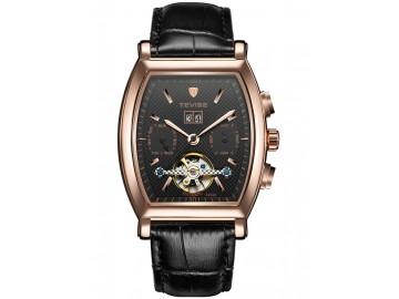 Relógio Tevise 8383B Masculino Automático Pulseira de Couro - Preto e Dourado