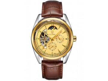 Relógio Tevise 795A Masculino Automático Pulseira de Couro - Dourado