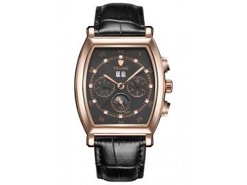 Relógio Tevise 8383A Masculino Automático Pulseira de Couro - Preto e Dourado