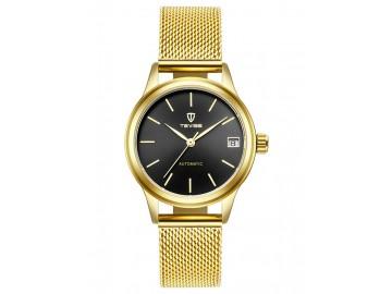 Relógio Tevise  9017 Masculino Automático Pulseira de Aço - Preto e Dourado