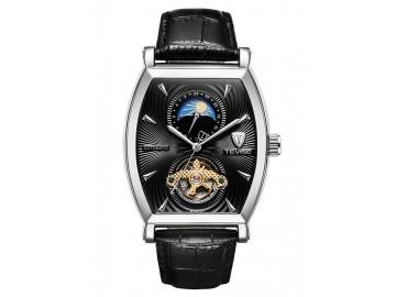Relógio Tevise 8383D Masculino Automático Pulseira de Couro Marrom - Branco