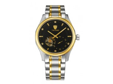 Relógio Tevise 5349 Masculino Automático Pulseira de Aço - Preto e Dourado