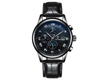 Relógio Tevise 9008 Masculino Automático Pulseira de Couro - Preto Sólido