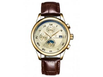 Relógio Tevise 9008 Masculino Automático Pulseira de Couro - Dourado