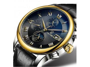 Relógio Tevise 9008 Masculino Automático Pulseira de Couro - Preto e Dourado